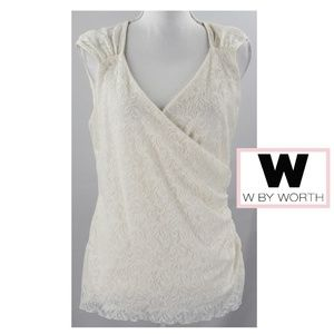 Off White Sleeveless Lace Ruched Wrap Front V Neck